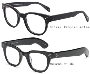 compare oliver peoples afton and moscot vilda