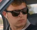 Ansel Elgort wears black Wayfarer style sunglasses in Baby Driver