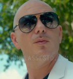 Pitbull with the gold frame / black leather Gucci 2887 sunglasses in the music video Fun