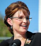 Sarah Palin with her Kazuo Kawasaki by Italee 704 eyeglasses at a rally in Elon