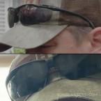 Matt Damon wears black sports sunglasses in the 2021 movie Stillwater.