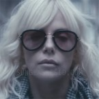 Charlize Theron wearing Miu Miu 03QS sunglasses in Atomic Blonde.
