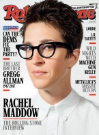 MSNBC presenter Rachel Maddow is wearing Moscot Vilda eyeglasses on the cover of Rolling Stone magazine, issue 1290, June 29, 2017.