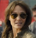 Angelina Jolie wears gold frame Ray-Ban 3025 Aviator sunglasses in the movie Those Who Wish Me Dead.