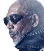 Morgan Freeman wearing the round sunglasses with leather side shields on the Obl