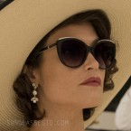 Gemma Arterton wears Tiffany & Co TF4134B cat eye sunglasses in Murder Mystery (2019).