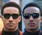 Jessie T. Usher wears matte black Tom Ford FT0526 Alasdhair sunglasses in Shaft (2019).