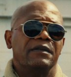 Samuel L. Jackson wears a pair of vintage WWII aviator sunglasses in Kong: Skull Island.