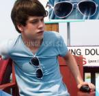 Liam James in The Way Way Back with white aviator sunglasses