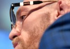 Conor McGregor wears Gucci GG0603 002 eyeglasses in the press events leading up to his fight with Dustin Poirier.