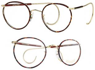 Savile Row Beaufort Panto, Chestnut, 14KT gold frame, half covered cable