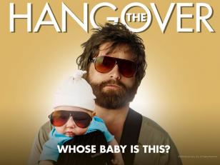 Zach Galifianakis wearing the Blublocker sunglasses on a poster of the movie Han