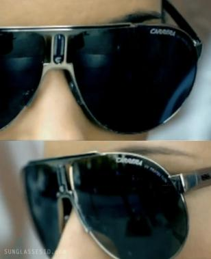 Extreme close-ups of the Carrera Panamerika 1 sunglasses in the music video of A