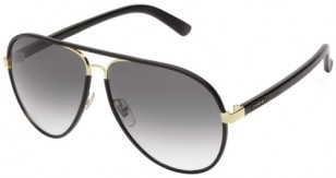 Gucci GG2887/S gold frame, black leather wrap (color code 0UZAA/JJ)