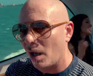 Pitbull with the gold frame / tan leather Gucci 2887 sunglasses in the music video Fun