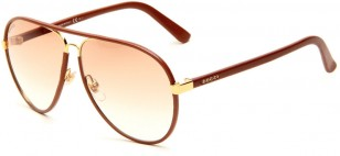 Gucci GG2887/S gold frame, tan leather wrap
