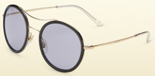Gucci 4252/N/S, gold frame, dark grey rims and grey lens