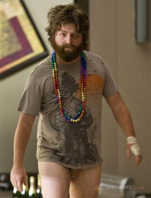 Zach Galifianakis wearing the Human Tree t-shirt in the movie Hangover