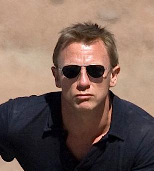 Daniel Craig, as James Bond, wearing Tom Ford 108 sunglasses