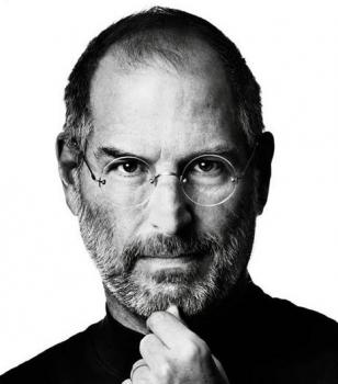 Steve Jobs wearing his rimless eyeglasses