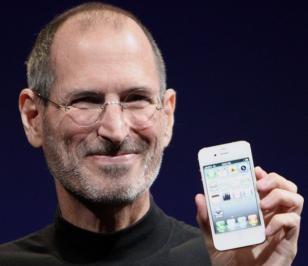 Steve Jobs shows off the white iPhone 4 at the 2010 Worldwide Developers Confere
