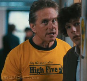 "Michael Douglas wearing the ""Keep the Spirit Alive. High Five"" t-shirt"