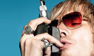 Rhys Ifans wearing Mykita Rolf on a promotional photo for The Boat That Rocked