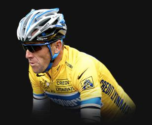 Lance Armstrong wearing Oakley M Frame in blue
