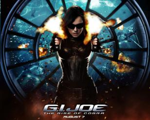 Sienna Miller wearing Oakley Nanowire 3.0 on a poster for GI Joe The Rise of