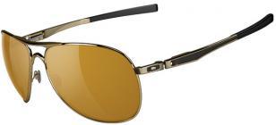 Oakley Plaintiff, polished gold/matte black frame, with bronze lenses