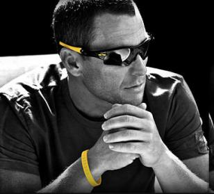 Lance Armstrong wearing Oakley Radar Path Livestrong and his Livestrong wristban