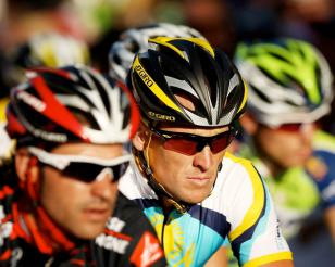 Lance Armstrong wearing Oakley Radar Path Livestrong during a race