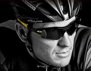 Lance Armstrong wearing Oakley Radar Path Livestrong