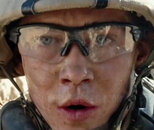 Joe Alwyn wears a pair of Oakley Radar Path protective glasses in Billy Lynn's Long Halftime Walk.