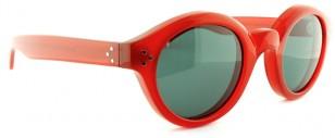 Old Focals Architect sunglasses, red frame, green UV lenses