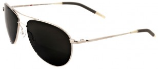 Oliver Peoples Silver with Midnight Express Polar Glass. The lenses in the film are yellow.