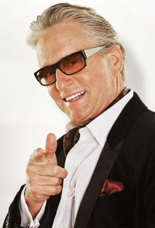 Michael Douglas wearing the sunglasses on a Ghosts of Girlfriends Past promotion