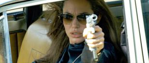 Angelina Jolie wearing Oliver Peoples Strummer in the movie Wanted