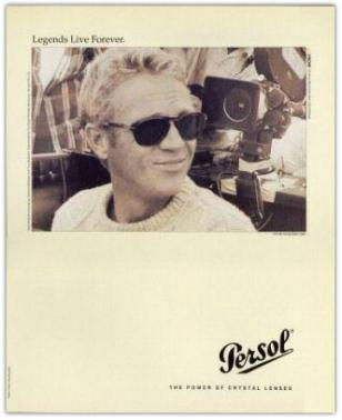 Print ad from a 1996 campaign by Persol Sunglasses