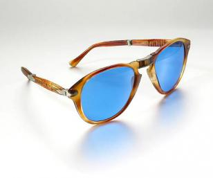 The actual Persol 0714's from Steve McQueen with custom blue lenses