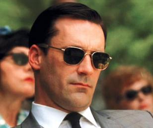 Jon Hamm, as Don Draper, wearing RE Aviator sunglasses in the series Mad Men
