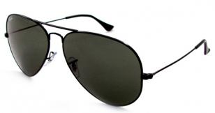 Ray-Ban 3025 with Black frame, Gray Green lenses (code 002)