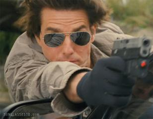 Tom Cruise sporting Ray-Ban 3025 Aviator mirror sunglasses in the movie Knight a