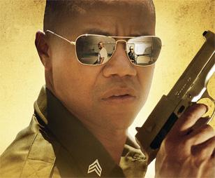 Cuba Gooding Jr. with Ray-Ban 3136 Caravan sunglasses on the Linewatch poster