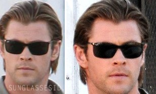Chris Hemsworth wearing Ray-Ban RB4179 62 Liteforce sunglasses on the set of Blackhat.