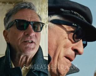 Robert DeNiro wears Ray-Ban RB 2140 Wayfarer sunglasses in the movie Joy.