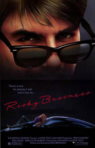 Tom Cruise wearing Ray-Ban Wayfarer sunglasses on the Risky Business movie poster