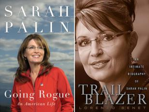 Sarah Palin wearing the glasses on the covers of the books Going Rogue