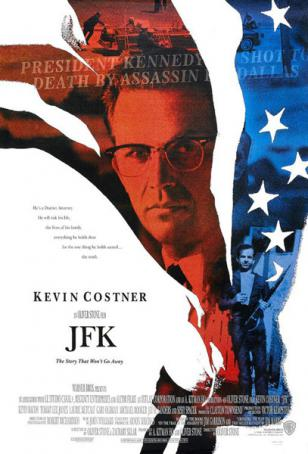 Kevin Costner wearing Shuron Ronsir Zyl glasses on the JFK movie poster