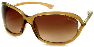 Tom Ford FT0008 Jennifer Champagne Transparent with Rose Gold Temple / Brown Gra